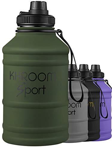 Khroom® XXL Trinkflasche aus Edelstahl | Kohlensäure geeignet | 1.3L - 2L Fitness Flasche für Sport, Gym & Freizeit | BPA frei (Grün, 2.2 Liter)