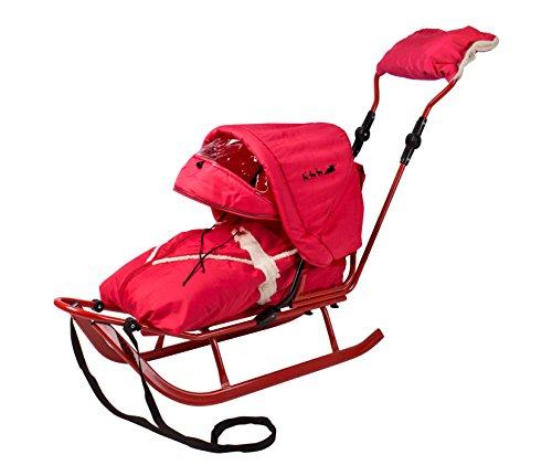Unbekannt Schlitten Delux mit Lehne,Fußsack,Verstellbarer Schiebestange,Verdeck,Viele Farben (rot-rot)