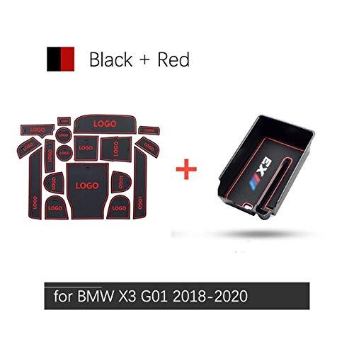 Happy Shop Armlehne Aufbewahrungsbox Autozubehör for BMW X3 G01 2018 2019 2020 Anti-Rutsch-Gummi-Tor Slot-Schalen-Matte Armlehne Box Lagerung Verstauen Aufräumen X3M Innere (Color : Mat)