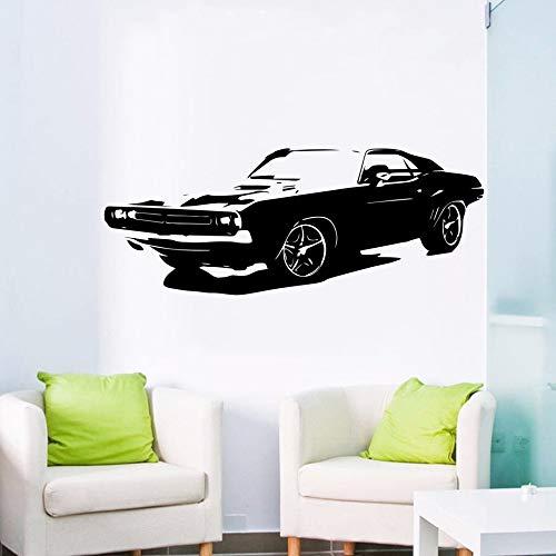 yaonuli Übergroße abnehmbare Auto Dodge Challenger Schlafzimmer Wandaufkleber Künstler Wohnkultur Vinyl Aufkleber Wohnzimmer Tapete 25x65cm