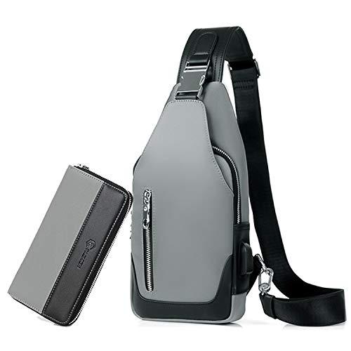 FANDARE Schultertasche Herren Brusttasche Sling Bag Rucksack mit Herren-Clutches USB Umhängetasche Sporttasche für Wandern,Abenteuer,Sport, Reisen und Joggen Grau