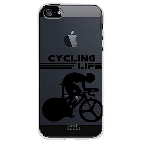 Funnytech Custodia in Silicone (TPU) per iPhone 5 / 5S / SE [Design Esclusivo, Stampa ad Alta Definizione] Cover, Case [Ciclismo Cycling Life Negro Transparente]