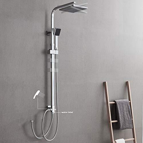 Auralum 2-Funktionen Quadrat Duschsystem mit Handbrause, Edelstahl Duschkopf, Duschset Duscharmatur ohne Wasserhahn, Duschgarnitur Chrom Wasserfall Duschen Brauseset