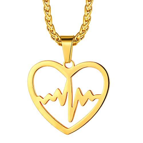 Richsteel Edelstahl Herzschlag Kette Gold Kette mit Herzanhänger Krankenschwester Arzt Medizinische Herzfrequenz Kette