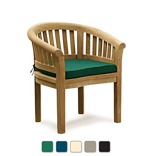 Jati Teak Curved Banana FULLY ASSEMBLED Garden Chair, Outdoor Armchair Including Green Cushion Brand, Quality & Value