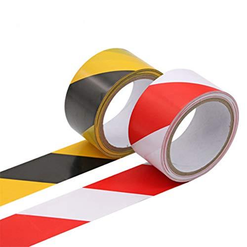 Sprießen 2 Rollen Absperrband, 50MM×20M Selbstklebend Markierungsband, Schwarz-gelb/Rot-weiß Wasserdicht Selbstklebendes Klebeband, Warnband geeignet für temporäre Bodenmarkierung, Straßenmarkierung