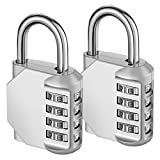 KeeKit Combination Lock, 4 Digit Combination Padlock, Waterproof Gate Lock, Resettable Combo Lock for Locker, Gym, Cases, Toolbox, School, 2 Pack - Silver