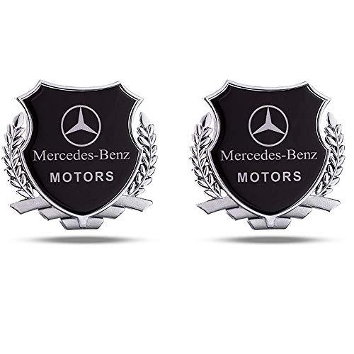 L&U 2ST Wheat Motors Schild Emblem Logo Fender C Säule Trunk Dekoration Auto-Styling-Aufkleber, 8,5 * 8cm Metall-Auto-Aufkleber,Silber,for Mercedes Benz