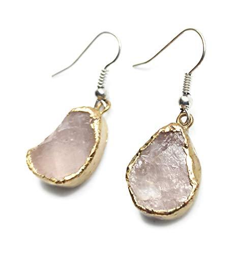 Pendientes largos mujer piedras semipreciosas cuarzo rosa