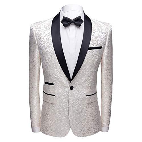 Allthemen Sakko Herren Slim Fit Jacquard Bunte Sakko Casual Blazer Glitzer Smokingjacke Anzugjacke für Hochzeit