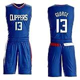 Morey, the Rockets, Jersey-Shorts Nr. 13 von Paul George für Kinder und Jugendliche, Los Angeles Clippers Nr. 13, ärmelloses Set, besticktes Basketball-Swingman-Jersey mit Mesh-Buchstaben-blue-XL