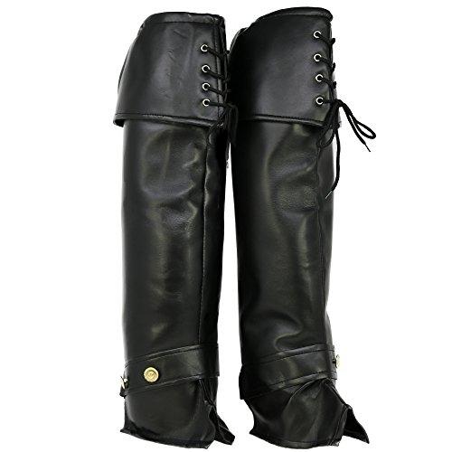 com-four® Stiefel Gamaschen aus schwarzem Kunstleder, Stiefelstulpen für Karneval, Fasching, Halloween und Motto-Partys, Einheitsgröße, 60 cm