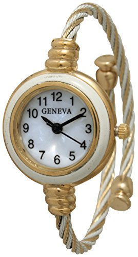 Geneva Cable Wire Bangle Watch Variety Color (White/Gold)