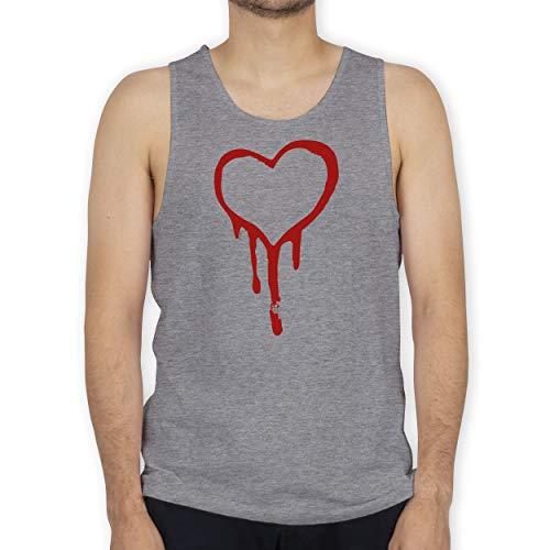 Shirtracer Symbole - Blutendes Herz - Bloody Heart - XXL - Grau meliert - Love & Peace - BCTM072 - Tanktop Herren und Tank-Top Männer