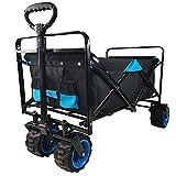 HDZW - Carrito de carrito plegable resistente y plegable, con ruedas de playa, todo terreno, asa ajustable, buggies de gran capacidad, carrito de jardín al aire libre