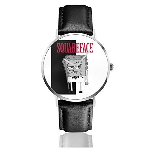 Unisex Business Casual Spongebob Squareface Scarface Pants Uhren Quarz Leder Armbanduhr mit schwarzem Lederband für Männer Frauen Junge Kollektion Geschenk