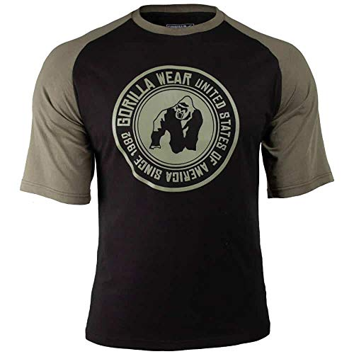 GORILLA WEAR Herren Shirt - Texas T-Shirt - Top Kleidung Rag Oldschool Muscle Black/Army Green XL