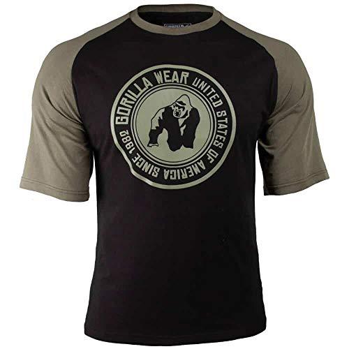 GORILLA WEAR Camisa de Hombre Camiseta de Texas - Top Ropa Rag Old School Muscle Black/Army Green 4XL