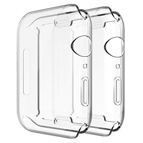 Simpeak Cover Compatibile per Apple Watch 44mm Series 4 2018(Confezione da 2), Custodia Compatibile con iWatch Full Protettivo TPU Caso Tutti i Modelli, Transparent+Transparent