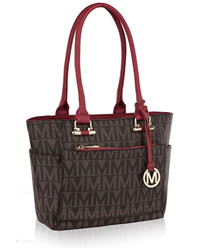Mia K Collection Shoulder Handbag for Women: Vegan Leather Satchel-Tote Bag, Top-Handle Purse, Ladies Pocketbook Red