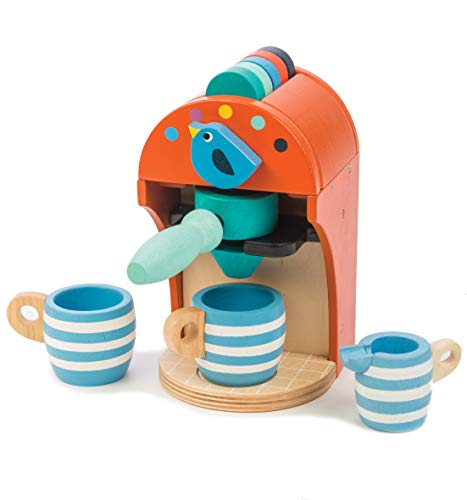 Wooden Toy Espresso Machine - Pretend Food Play Toy Coffee Machine with Capsules, Cups and Milk Jug - Encourages Imaginative Play, Roleplay and Communication Skills - 3 Years +