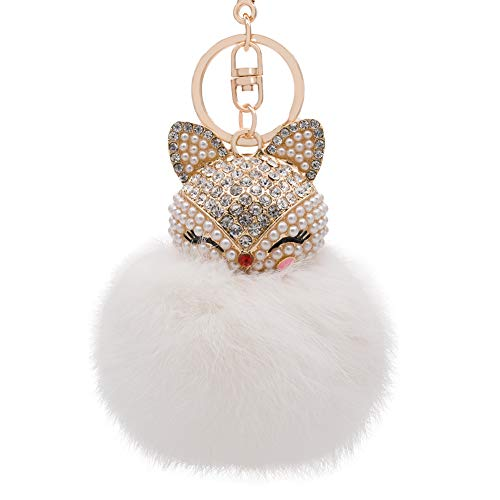 HOYUNLA Genuine Rabbit Fur Ball Pom Pom Keychain with Fox Head Inlay Pearl Rhinestone for Women Backpack Car Key Chain Decoration (white)