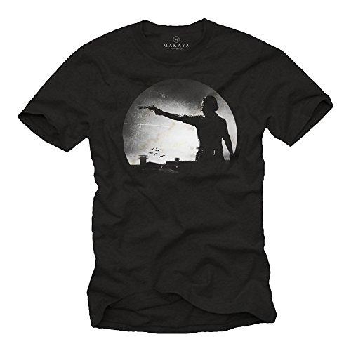 Camiseta Hombre Manga Corta Estampada - Rick Walking Dead Zombie Hunter Negra L