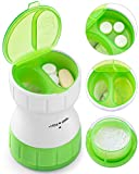 BUG HULL Pill Crusher and Grinder Crush Pill Pulverize and Grind Multiple Pills Tablets to Powder with Small Storage Compartment