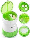 Tablettenteiler, BUG HULL Tablettenmörser Keramik mit Vorratsfach Pillenmörser für kleine und große Tabletten Pillente (Grün) (Grün)