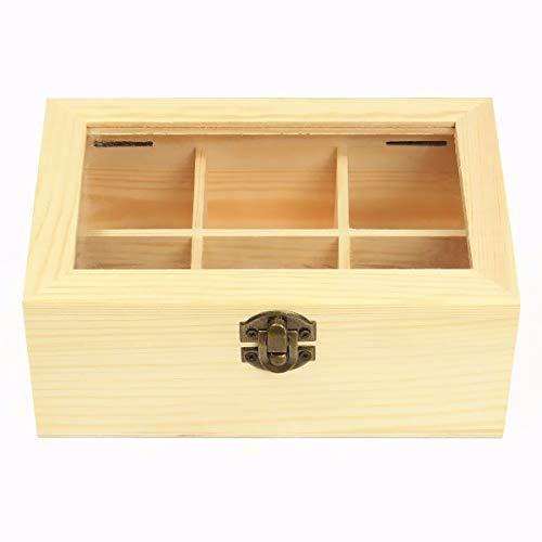 Dynamic 6 Compartiments en Bois Sachet De Thé Bijoux Organisateur Coffre Rangement Boîte en Verre Top Log
