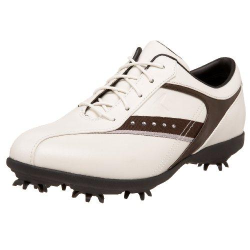Callaway Women's GEMS Golf Shoe,Blanco/Coffee/Silver,5.5 M US