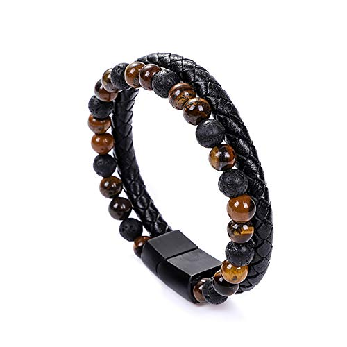 UEUC Stone Leather Bracelet for Men, Natural Bead Genuine Leather Cuff Bracelet with Magnetic Clasp Cowhide Braided Bracelet