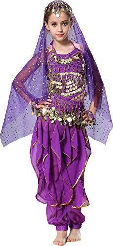 Seawhisper Indian Costume Girls Halloween Costume Toddler Jasmine Costumes for Girls Dark Purple 7 8 10