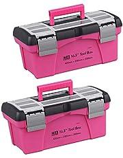 Baoblaze 2-delige Gereedschapskoffer Multifunctionele Gereedschapskist Roze Gereedschapskist Plastic Gereedschapskist Gereedschaporganisator