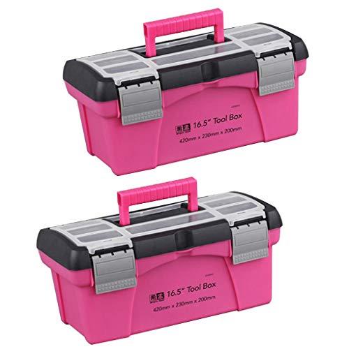 2 Pcs Caja de Almacenamiento Rosada, Caja de Herramientas del Hogar 255 × 120 × 100mm