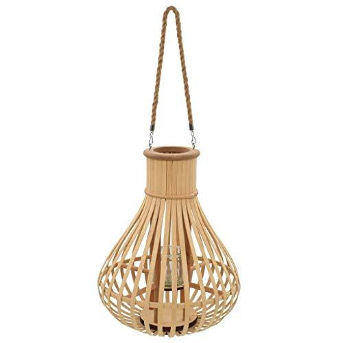 vidaXL Kerzenhalter Hängend Bambus Windlicht Laterne Kerzenständer Gartendeko