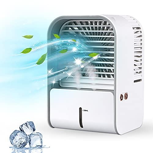 Mobiles Klimagerät, mixigoo 3 In 1 Mini Klimaanlage Mobil Luftkühler/Luftbefeuchter/USB Ventilator mit Wassertank und Einstellbaren Geschwindigkeiten Air Cooler, Air Conditioner für Zuhause und Büro