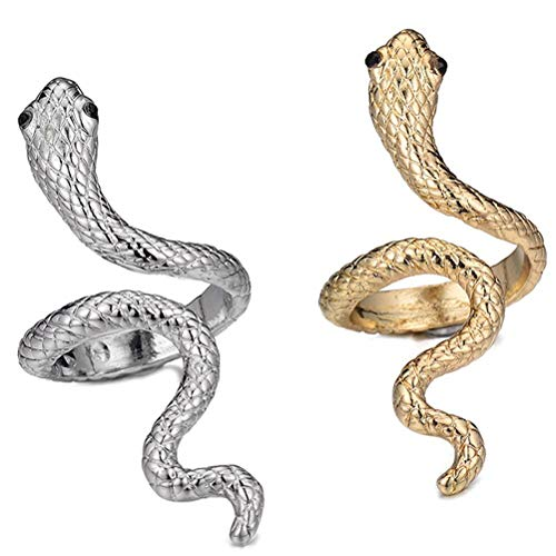 Lalone 2 anillos de modelado de serpiente, apertura ajustable, unisex, estilo bohemio, vintage, abierto, para hombres y mujeres, gótico, anillo de serpiente