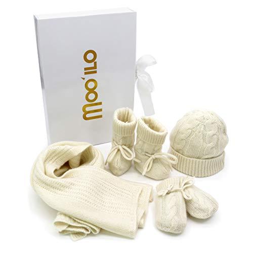 MOO´ILO Set de regalo para recién nacidos, 100 % lana de cachemira fina, gorro, patucos, manoplas y manta con patrón trenzado en caja de regalo de alta calidad Blanco Talla única