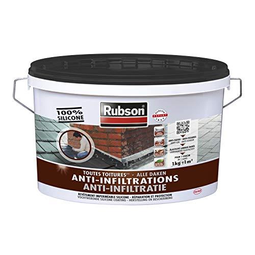 Rubson Revêtement Anti-Infiltrations Stop fuite Noir 1 kg, pour réparation & étanchéité de toitures inclinées & plates, Résine silicone imperméable anti-fuites & anti-fissures