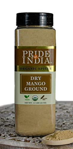 Pride Of India- Organic Dry Mango (Amchur) Powder - 24 oz (680 gm) Large Dual Sifter Jars - Vegan Sun-Dried Spice - Best for Chutneys, Soups, Marinades etc.- Offers Amazing Value for Money.