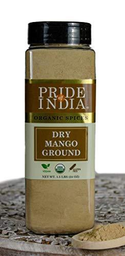Pride Of India-Dry Mango (Amchur) Pulver -24 oz (680 g) Große Dual-Sichter Gläser - Vegan Sun-Dried Spice - Best für Chutneys, Suppen, Marinaden (Dry Mangopulver, Vegan sonnengetrocknete Gewürz)