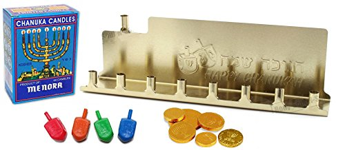 Chanukah Mini Kit - Gold Colored Tin Menorah, 44 Colored Candles, Complete Hanukkah Guide Booklet, 4 Colored Dreidels, Sack of Hanuka Chocolate Coins Gelt - All in 1 Set