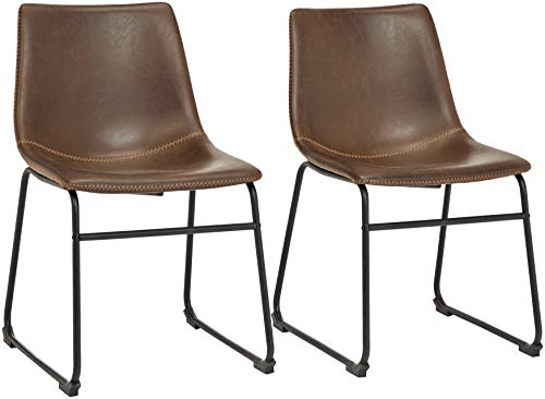 Phoenix Home PU Leather Dining Chair Set of 2, 18.11' Length x 21.65' Width x 30.7' Height, Brown