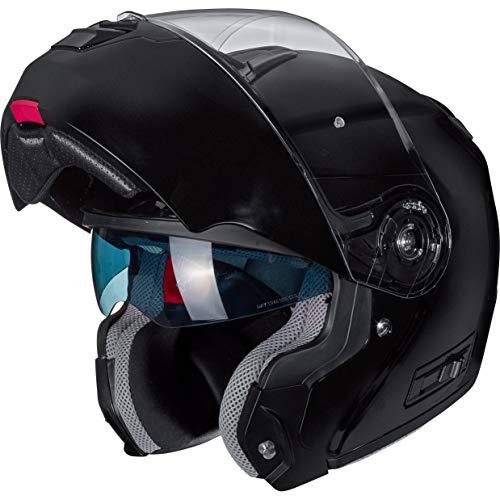 Nexo Klapphelm Motorradhelm Helm Motorrad Mopedhelm Klapphelm Comfort, für Damen und Herren, 1.550 g, kratzfestes Visier, Belüftung, Ratschenverschluss, matt Schwarz, L