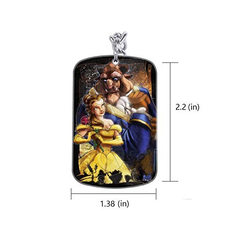 DISNEY COLLECTION Beauty and The Beast Keychain Silver Handbag Purse Hanging Charms with Carabiner Clip Best Gift for Women Girls Men Husband Wife
