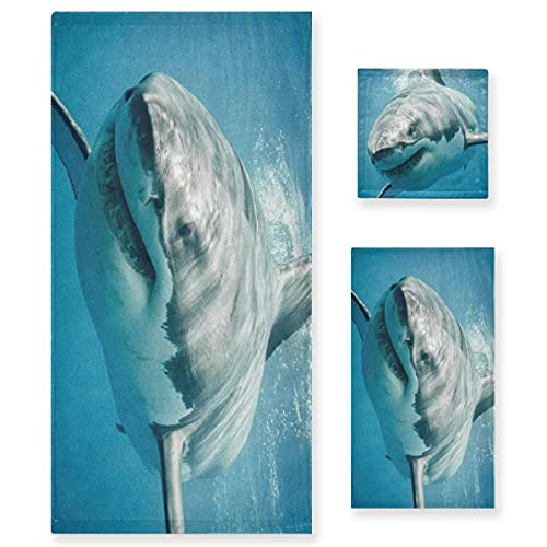 ZORMIEY Juego de 3 Toallas Decorativas Suaves y Altamente absorbentes Oceanshark Jaws...