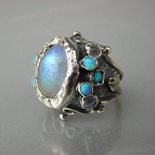 Moonstone Ring; Moonstone; Rainbow Moonstone; Moonstone Jewelry; Natural Moonstone; Sterling Silver Ring; Boho; Metaphysical; bohemian
