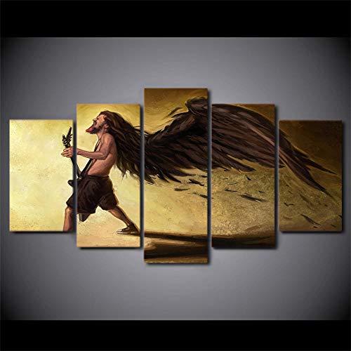 rkmaster-Hd druk 5 canvas kunst klassieke gitaar Dean Razorbolt schilderij abstracte vleugels mannen muurschildering Ny 7037A