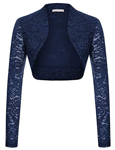 Belle Poque Women's Lace Shrug Long Sleeve Cropped Bolero Jacket (Navy,XL)